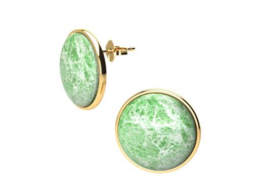 Hesita Carla   NERA BASICS Round Earrings in Green Marble-latest   design 2021